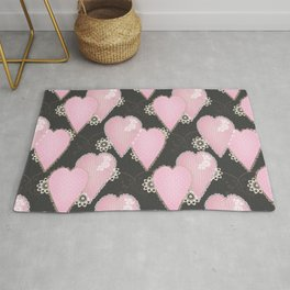 Retro Applique. Textile pink hearts on grey background . Patchwork Valentines Day Rug
