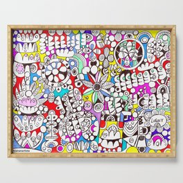 Flower Power (psychedelic abstract art) Serving Tray