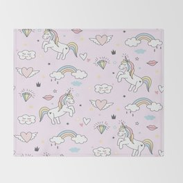 Unicorn & Rainbows Light Pink Throw Blanket