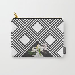 Square tiling patterns & white flowers Carry-All Pouch