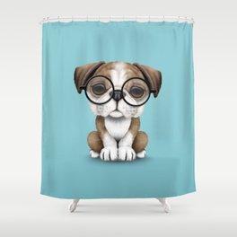Cute English Bulldog Puppy Wearing Glasses on Blue Shower Curtain