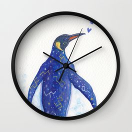 King Penguin with Galaxy Inside Body Wall Clock