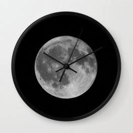 Full Moon on Black Wall Clock