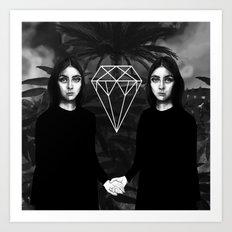 Twins & Palms Art Print