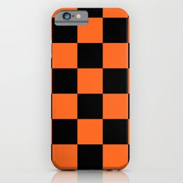 Orange and Black Buffalo Check Plaid iPhone Case