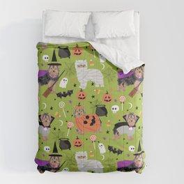 Yorkie halloween costumes pumpkin mummy witch vampire ghost yorkshire terrier Comforters