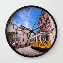 Tram 28 transportsTram 28 transports tourists past Igreja de Santa Luzia church in Lisbon, Portugal Wall Clock