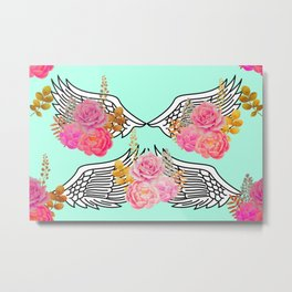 Wings and Roses Mint Green Metal Print