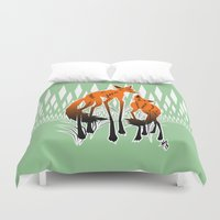 foxes Duvet Covers featuring Foxes by AmKiLi