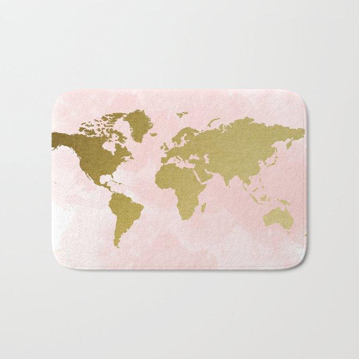 Gold World Map Poster Bath Mat