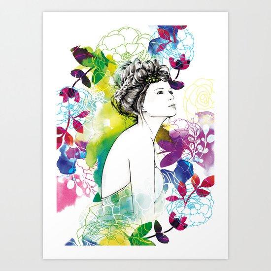 Bella fashion watercolor portrait Art Print
