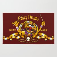 drums Area & Throw Rugs featuring Crazy Drums by ikado
