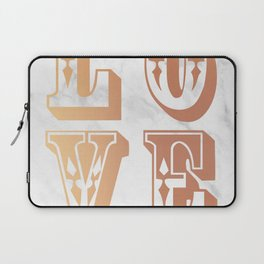 Rose Gold Marble Love Circus Typography Print Laptop Sleeve