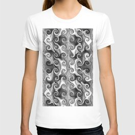 Black White Seamless Wave Spiral Abstract Pattern T-shirt