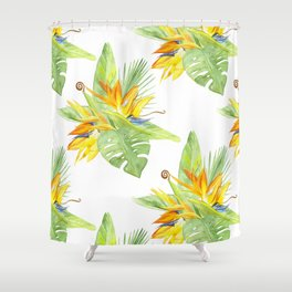 watercolor seamless pattern bird of paradise Shower Curtain