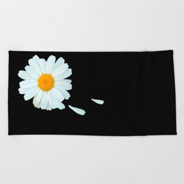 Love Me - Love Me Not - White Daisy on Black Background #decor #society6 #buyart Beach Towel