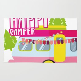 Happy Camper Road Trip Camping Vacation Funny Rug