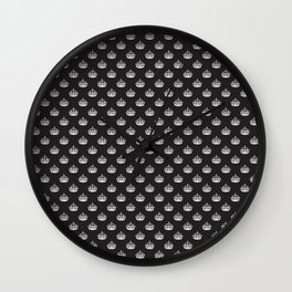 White on Black Crown Pattern Wall Clock