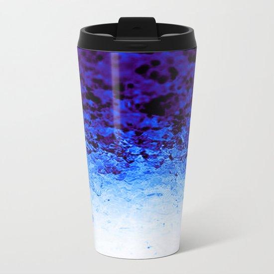 Indigo Blue Ombre Crystals Metal Travel Mug