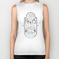 lettering Biker Tanks featuring Lettering (Maybe) by Lucia Prieto Moreno