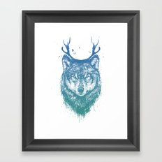Deer wolf Framed Art Print
