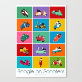 Boogie On Scooters Canvas Print