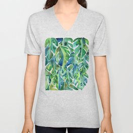 Split Leaf Philodendron – Green Unisex V-Neck
