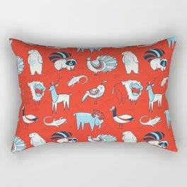Arctic Animals - Red Rectangular Pillow