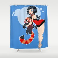 pinup Shower Curtains featuring Bast pinup by Raygor