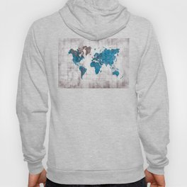 world map 96 blue #worldmap #map Hoody