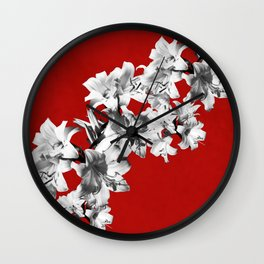Lilies, Lily Flowers on Red Wall Clock