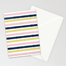 Pink, Gold and Navy blue Pastel Brush Strokes Stationery Cards