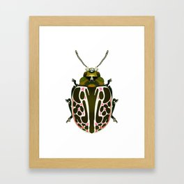 Green, White, Pink Beetle Framed Art Print