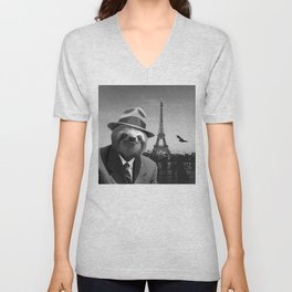 Gentleman Sloth in Paris Unisex V-Neck
