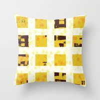 yellow pattern Throw Pillows featuring Yellow by SensualPatterns