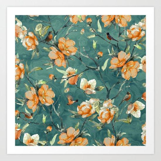 Flowers & Birds Art Print