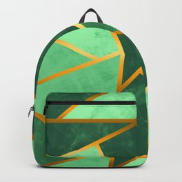 Gold Striped Green Abstract Backpack