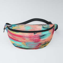 Ocean Reef: a colorful abstract piece in pinks, reds and turquoise by KKingCreations Fanny Pack