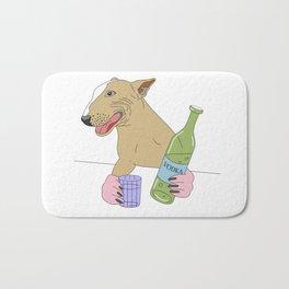 dog drinking vodka Bath Mat