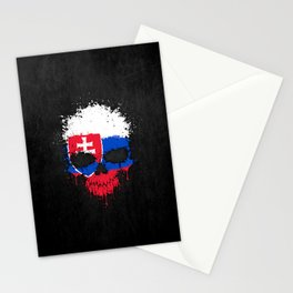 Flag of Slovakia on a Chaotic Splatter Skull Stationery Cards