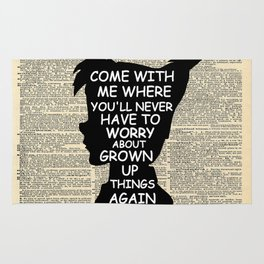 Peter Pan Over Vintage Dictionary Page - Grown Up Things Rug