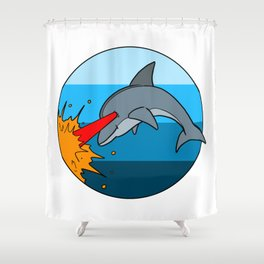 Laser Dolphin 1980s Retro Sci-Fi Design Shower Curtain