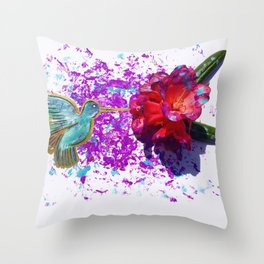 Rhododendron Hummingbird Throw Pillow