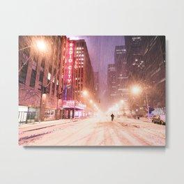 Snowstorm in New York City Metal Print