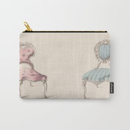 Design for Chairs Louis Quinze Style by Robert William Hume British // Fashion Furniture Sketches Carry-All Pouch