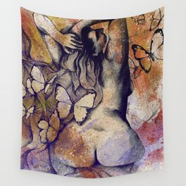 Sugar Coated Sour: Autumn (nude curvy pin up with butterflies) Wall Tapestry