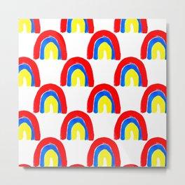 Watercolor Primary Rainbows Repeat Metal Print