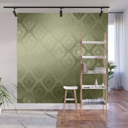"""Olive Damask Pattern"" Wall Mural"