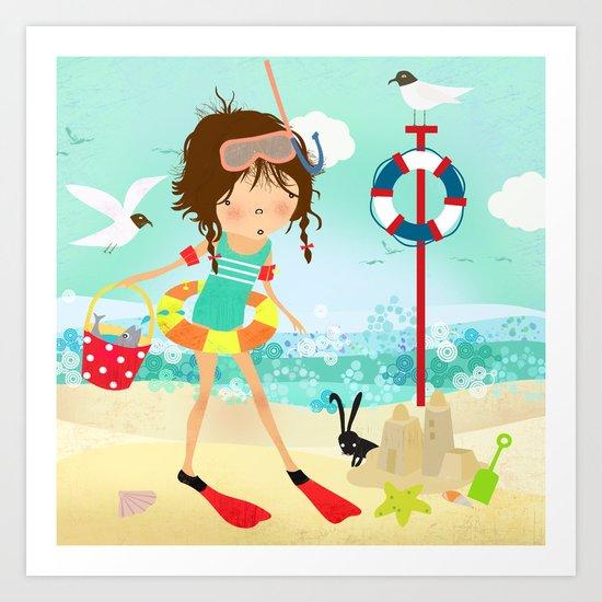 Emma and the sea Art Print