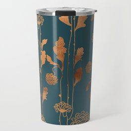 Art Deco Copper Flowers Travel Mug